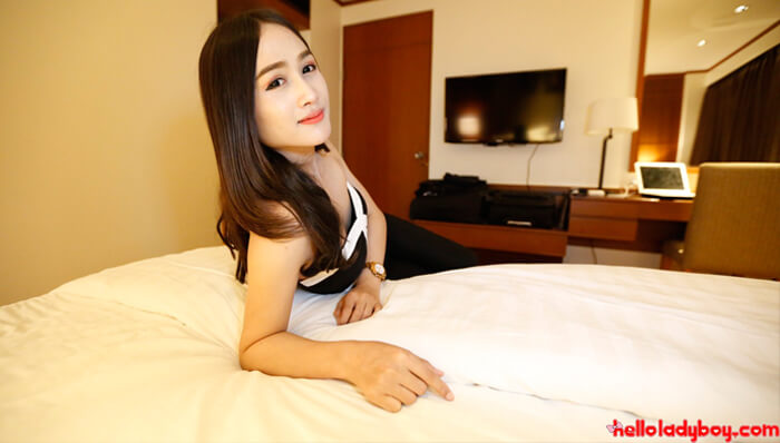 Ladyboy in bed